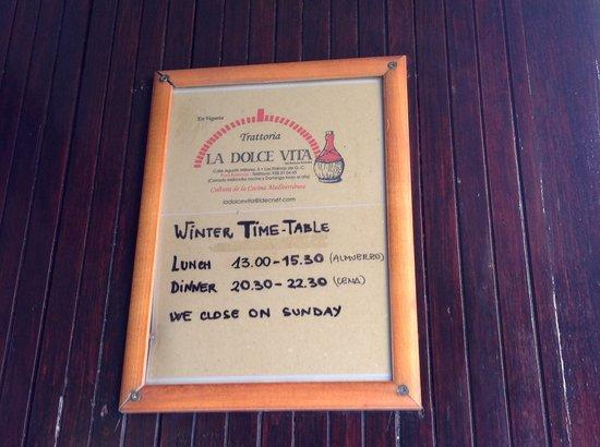 La Dolce Vita : time-table