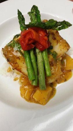 Beachside Bar & Grill: Zesty Basil Tropical Mahi Mahi with Warm Mango Chutney, Jasmine Rice, & Chef's Veggies