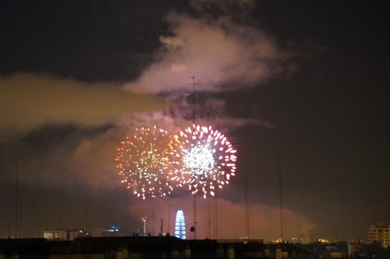 AC Hotel Valencia: view from room of fireworks from City Center