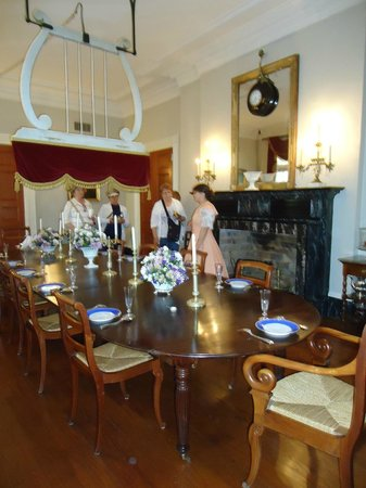 Oak Alley Plantation Dining Room Fan Over Table