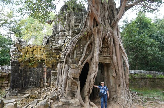 Ta Som: Exit, with those enormous roots dwarfing me.