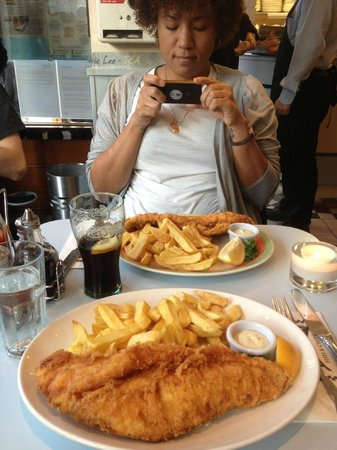 Poppies Fish & Chips: Large cod and chips, small haddock and chips