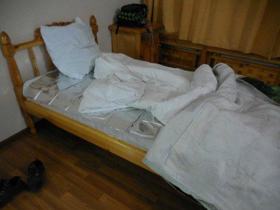 Hotel Malika Bukhara: サバイバルシートを敷いて寝ました。布団は薄い。