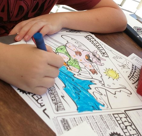 Hog's Breath Cafe: Kids colouring material supplied to help pass the time