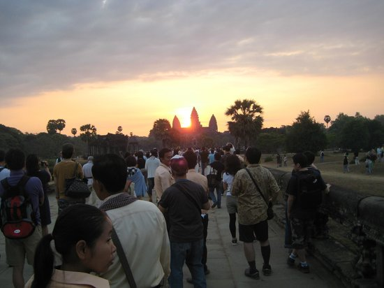 Angkor Forever Tours -Day Tours: These visitors have been seeing sunrise .