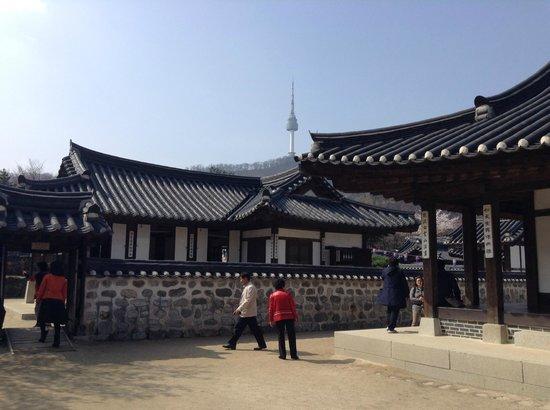 Namsangol Hanok Village : A view of Seoul tower