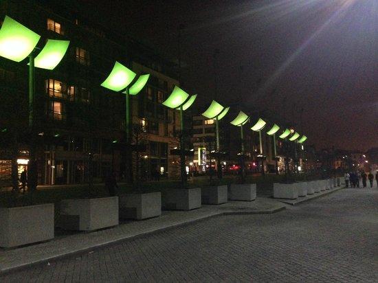 Maldron Hotel Smithfield: night time in smithfield square