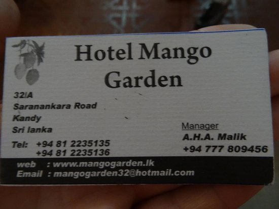 Hotel Mango Garden : contact details