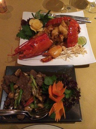 Lobster Pad Thai & Beef & Mushrooms in Oyster Sauce