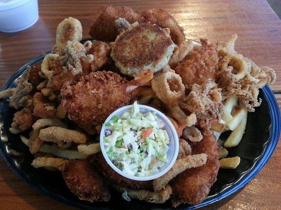 Neptune's net: fish, shrimp, scallop, clam strips, crab cake, calamari  Good, except the crab