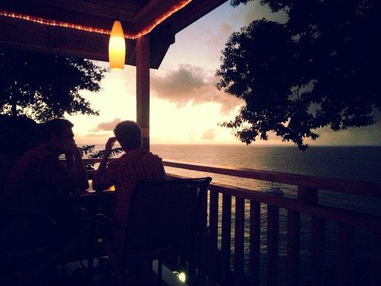 Caribbean Kitchen at Castara Retreats: sunset view from Castara Retreats Bar
