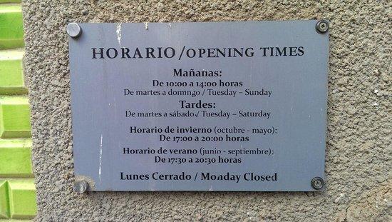 Museo Municipal de la Cuchillería: Время работы музея