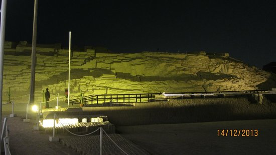 Huaca Pucllana: View of the bricks from the restaurant