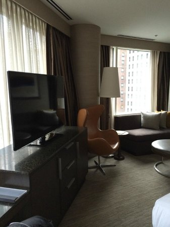 Hyatt Chicago Magnificent Mile : Large Flat Screen and Sofa/Sitting Area