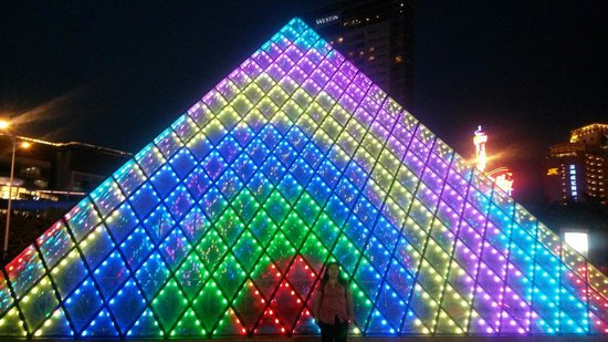 Shenzhen Window of the World: Pyramid at night