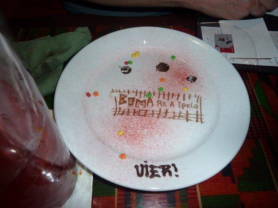Boma - Flavors of Africa: Birthday dessert writing