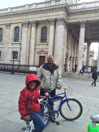 Fat Tire Bike Tours - London: My son on the tandem bike.