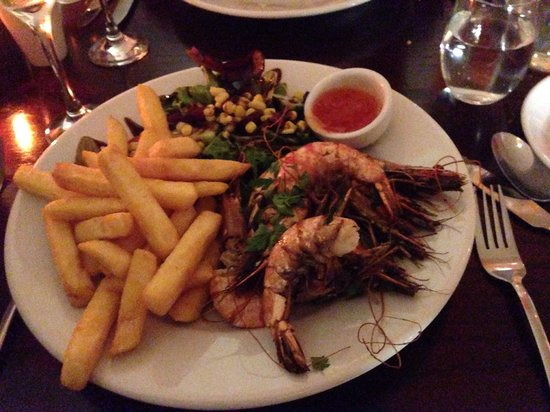 Manbo's: Tiger prawns, the mr enjoyed trying them for first time.