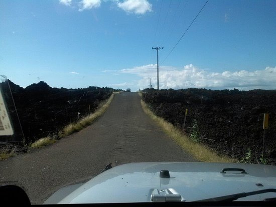 Lava Fields: View driving down the road
