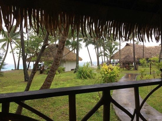 Hotel Raira Lagon : Vue bungalow sur jardin et lagon (sympa même sous la pluie)