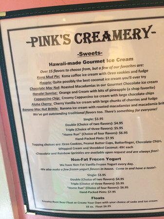 Pink's Creamery: The menu
