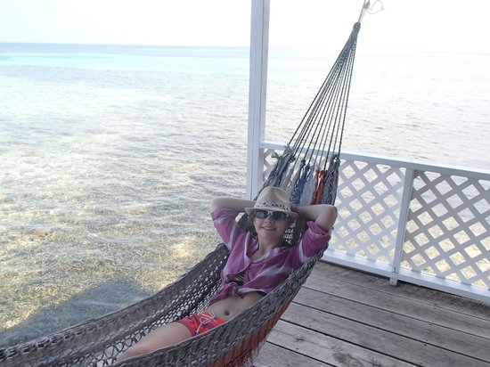 Tobacco Caye Paradise: Hammock on porch over the water.