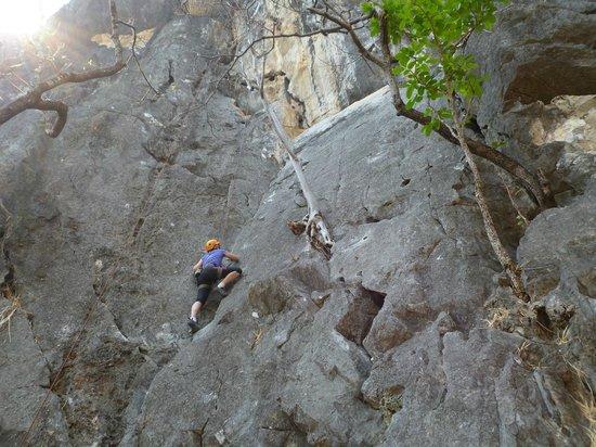 Chiang Mai Rock Climbing Adventures: half way up the rock face...