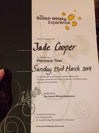 The Scotch Whisky Experience: Certificate at the end of the tour