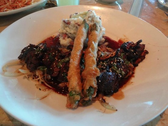 The Cheesecake Factory: Carne, aspargo e batata