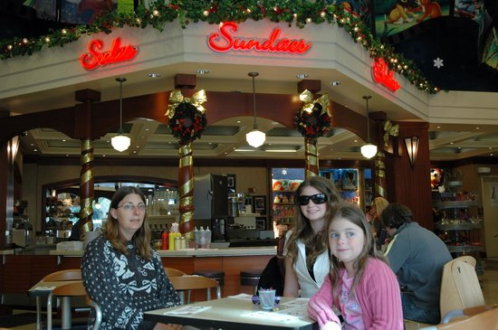 Disney Studio Store & Ghirardelli Soda Fountain: Me, my mum and my sister inside of the Disney Soda Fountain And Studio Store.