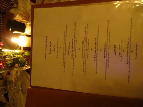 Sanbona Wildlife Reserve - Tilney Manor, Dwyka Tented Lodge, Gondwana Lodge: dinner menu (changed nightly!)