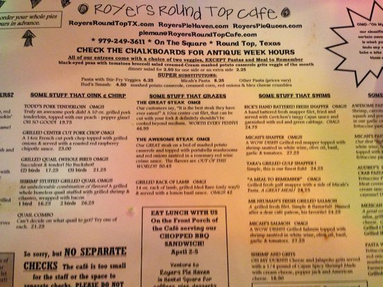 Royers Round Top Cafe: Menu