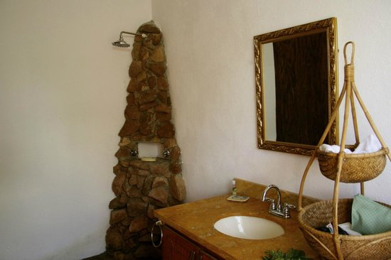 Crystals: Main floor suite rock shower/bathroom