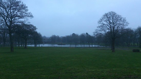 Kilmarnock, UK: View to the pond