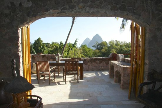 Crystals St Lucia: View of Pitons from Deck with BBQ