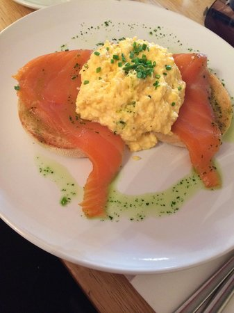Red Pepper: Delicious breakfast: scrambled eggs with salmon