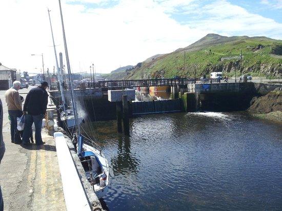 Peel Marina: Flap gate and swing bridge at marina entrance