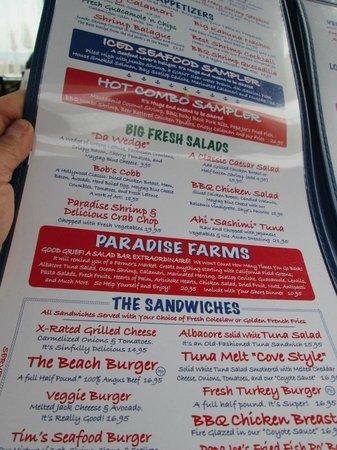 Paradise Cove Beach Cafe: menu