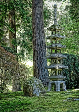 An iconic stone pagoda in the Portland Japanese Gardens
