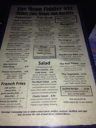 The Mean fiddler menu...