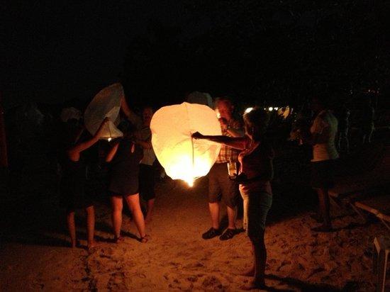 Iberostar Grand Hotel Rose Hall: Wedding parties light Chinese lanterns on the beach at night