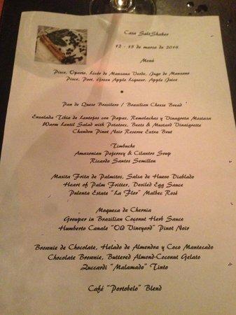 Casa SaltShaker: Dinner Menu March
