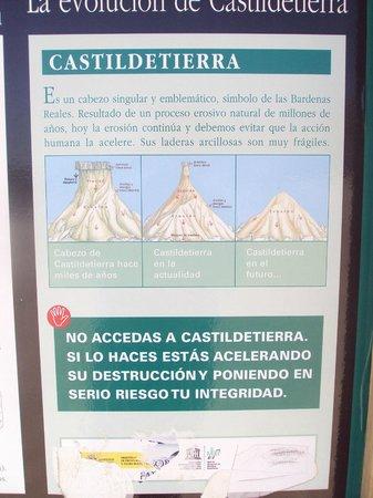 Parque Natural Bardenas Reales de Navarra: Panel explicativo del Cabezo de Castildetierra.
