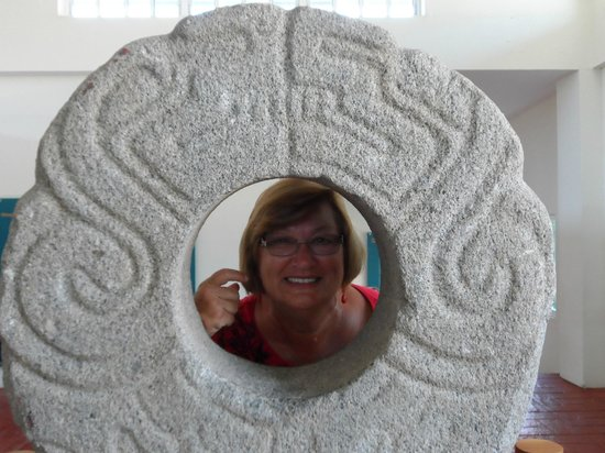 Xihuacan Museum and Archeological Site: Stone used in the ball game