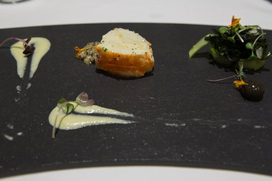 "Tempo by Martin Berasategui: course #3 lobster (""fish of the day""), fennel cream, asparagus salad"