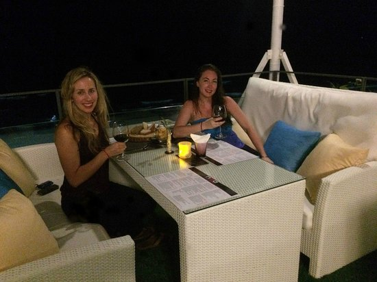 KC Beach Club and Pool Villas: upstairs VIP area for dinner