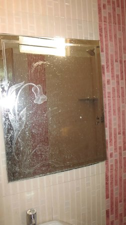 Hotel Satkar: Generous water marks on the mirror.