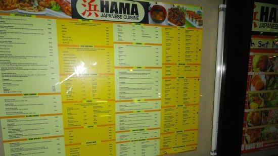 Hama Japanese Restaurant : Menu