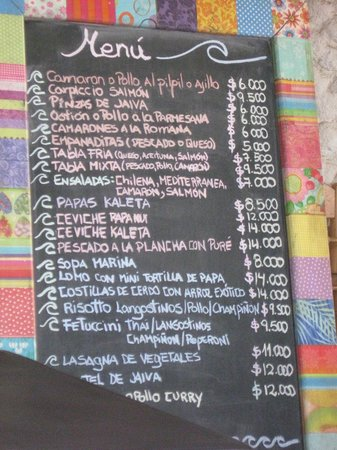 La Kaleta: the menu board