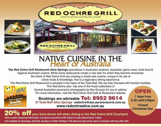 Red Ochre Grill Restaurant Alice Springs: 'We hope we make you SMILE""